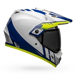 BELL MX-9 Adventure MIPS Dash Gloss White/Blue/Hi-Viz Helmet